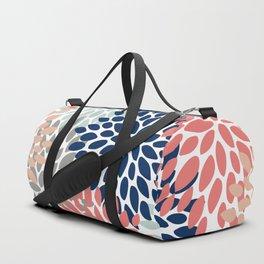 Floral Bloom Print, Living Coral, Pale Aqua Blue, Gray, Navy Duffle Bag