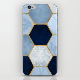 Deco Blue Marble II with Metallic Gold Accents iPhone Skin