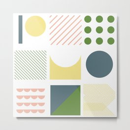 soft colors geometric shapes Metal Print