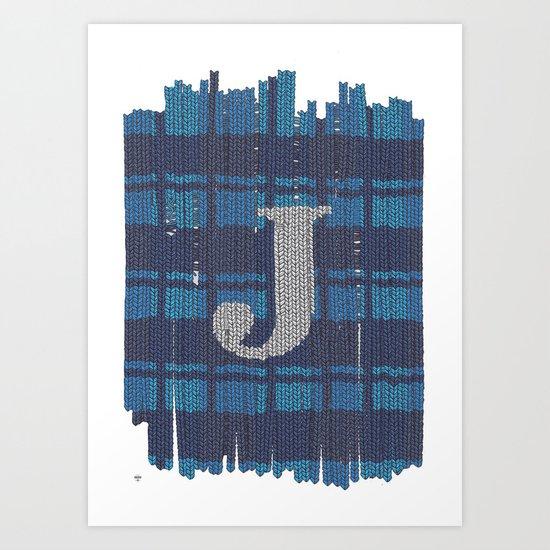 Winter clothes. Letter J. Art Print