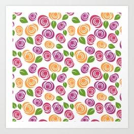 Pretty Orange Pink Purple Green Floral Pattern Art Print