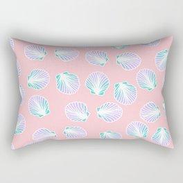 Summer mermaid hand drawn sea shell purple turquoise on pastel pink Rectangular Pillow