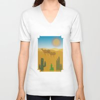 desert V-neck T-shirts featuring Desert by Loop in the mind
