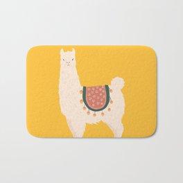 Fancy Llama - Yellow Background Bath Mat