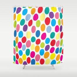 Colour Spots White Shower Curtain
