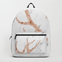 Rose gold antlers on soft white marble Backpack