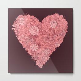 Pink Succulent Heart Metal Print