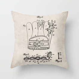 Baseball Glove Patent - Baseball Art - Antique Throw Pillow