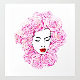 Lady of the flowers. Art Print
