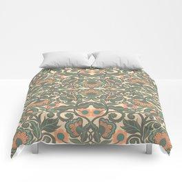Green Vines Folk Art Flowers Pattern Comforters