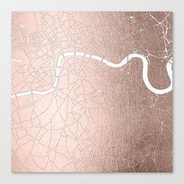 RoseGold on White London Street Map II Canvas Print