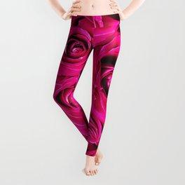 Romantic Pink Purple Roses Pattern Leggings