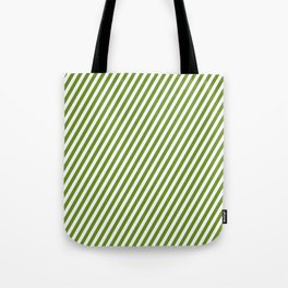 Green and White Colored Striped/Lined Pattern Tote Bag
