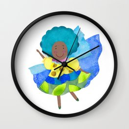 Dancing little fairy in blue Wall Clock