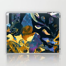 blue abstract floral Laptop & iPad Skin