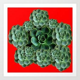 CHINESE  RED ART JADE GREEN SUCCULENTS Art Print