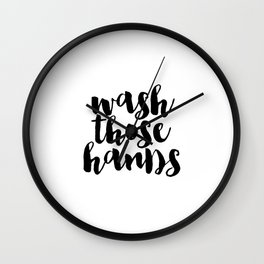 Wash Those Hands hands bathroom art bathroom sign printable hand lettered nursery decor kids Wall Clock
