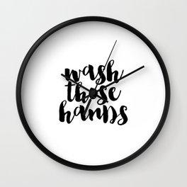 Wash Those Hands hands bathroom art bathroom sign printable hand lettered nursery decor kids Wall Clock