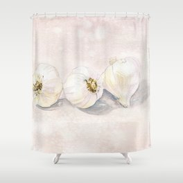 Garlic Watercolor Shower Curtain