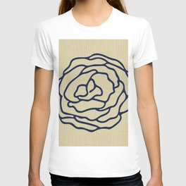 Rose Nautical Navy Blue on Linen T-shirt