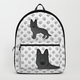 Black German Shepherd Dog Cartoon Illustration Backpack