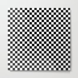 Checker Black and White Metal Print
