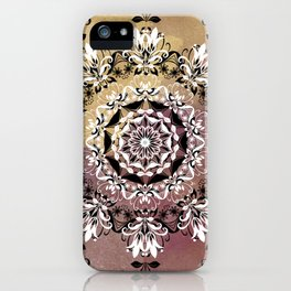ELEGANT BLACK AND WHITE WATERCOLOR MANDALA iPhone Case
