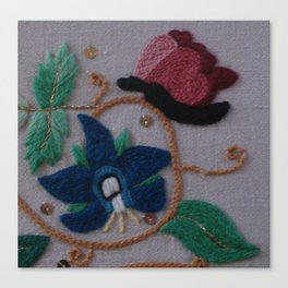 Elizabethan Embroidery Cornflower and Butterfly Canvas Print