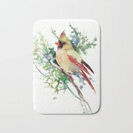 Cardinal Bird Artwork, female cardinal bird Bath Mat