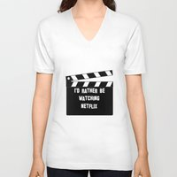 netflix V-neck T-shirts featuring Netflix Killed Hollywood by Katie Gaughan