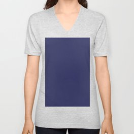 navy blue solid Unisex V-Neck