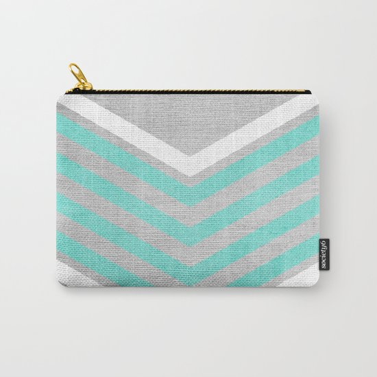 Teal and White Chevron on Silver Grey Wood Carry-All Pouch