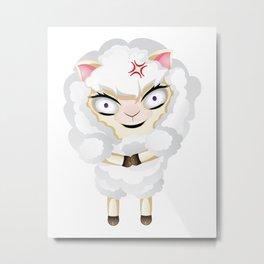 Funny Chibi Sheep Mad Metal Print