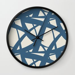 Blue & Linen White Abstract Mosaic Pattern 3 Pairs To 2020 Color of the Year Chinese Porcelain Wall Clock
