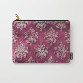 Old shabby vintage damask pink purple pattern Carry-All Pouch