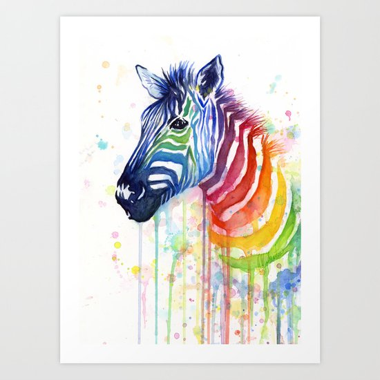 Zebra Watercolor Rainbow Animal Painting Ode to Fruit Stripes Art Print
