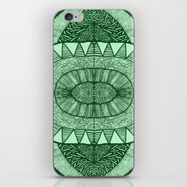 Grassy Green Tangled Mania Pattern Doodle Design iPhone Skin