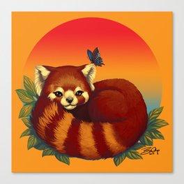 Red Panda Has Blue Butterfly Friend Canvas Print