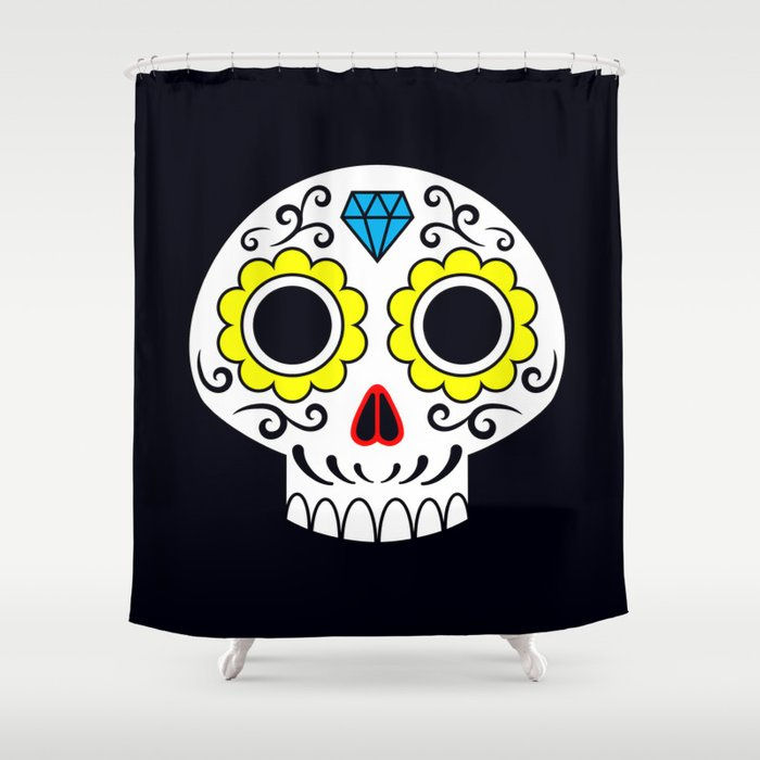 Sugar skull for a cake Shower Curtain