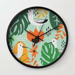 Birds and tropical botany Wall Clock