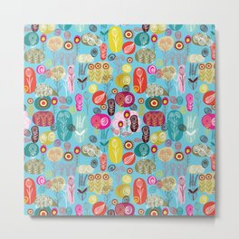 Colorful Simple Hand Drawn Retro Flowers Pattern 2 Metal Print