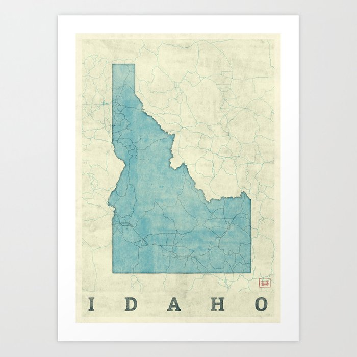 Idaho State Map Blue Vintage Art Print on idaho state motto name, idaho state animal, idaho state outline clip art, south florida map printable, syracuse map printable, idaho map with cities, idaho state flower, idaho flag printable, sc state map printable, atlanta state map printable, hawaii state map printable, idaho state seal, purdue map printable, dc state map printable, cincinnati map printable, 2013 unr campus map printable, northwestern state map printable, pittsburgh map printable, idaho capitol map, idaho state regions,