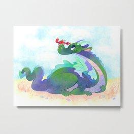 Crabby Dragon Metal Print