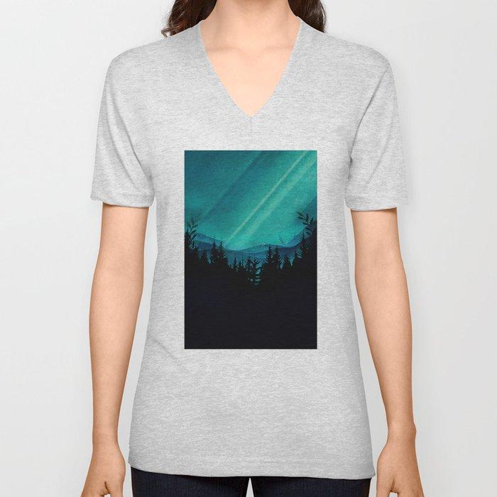 Magic in the Woods - Turquoise Unisex V-Neck
