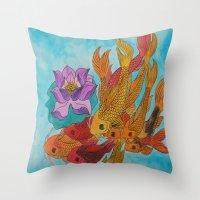 koi fish Throw Pillows featuring Koi Fish by DaeChristine