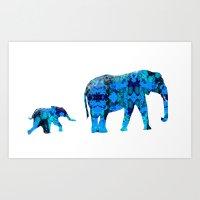 Inkblot Elephants Art Print