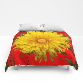 DECORATIVE  YELLOW DANDELION BLOSSOM ON ORGANIC RED ART Comforters