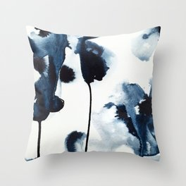 indigo flora Throw Pillow