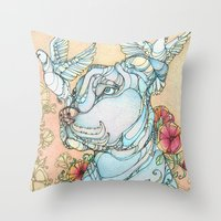 pitbull Throw Pillows featuring Peaceful Pitbull by Kate Fitzpatrick