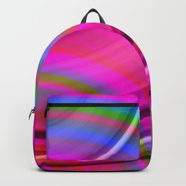 Fluttering curved semicircles with a crisp dawn accent and all the colors of the rainbow. Backpack